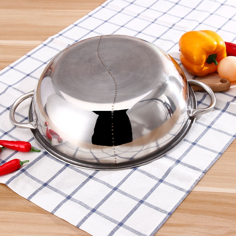 Stainless Steel 2 Tastes Hot Pot Chinese Fondue Divided Hotpot