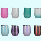 Gift 12oz Insulated Travel Mug Stainless Steel Double Wall Holographic Glitter Wine Glass Stemless Wine Tumbler Cups with Lid