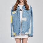 Denim Jacket Denim Men High Street Fashion Patch Denim Jacket With Back Zippers And Prints