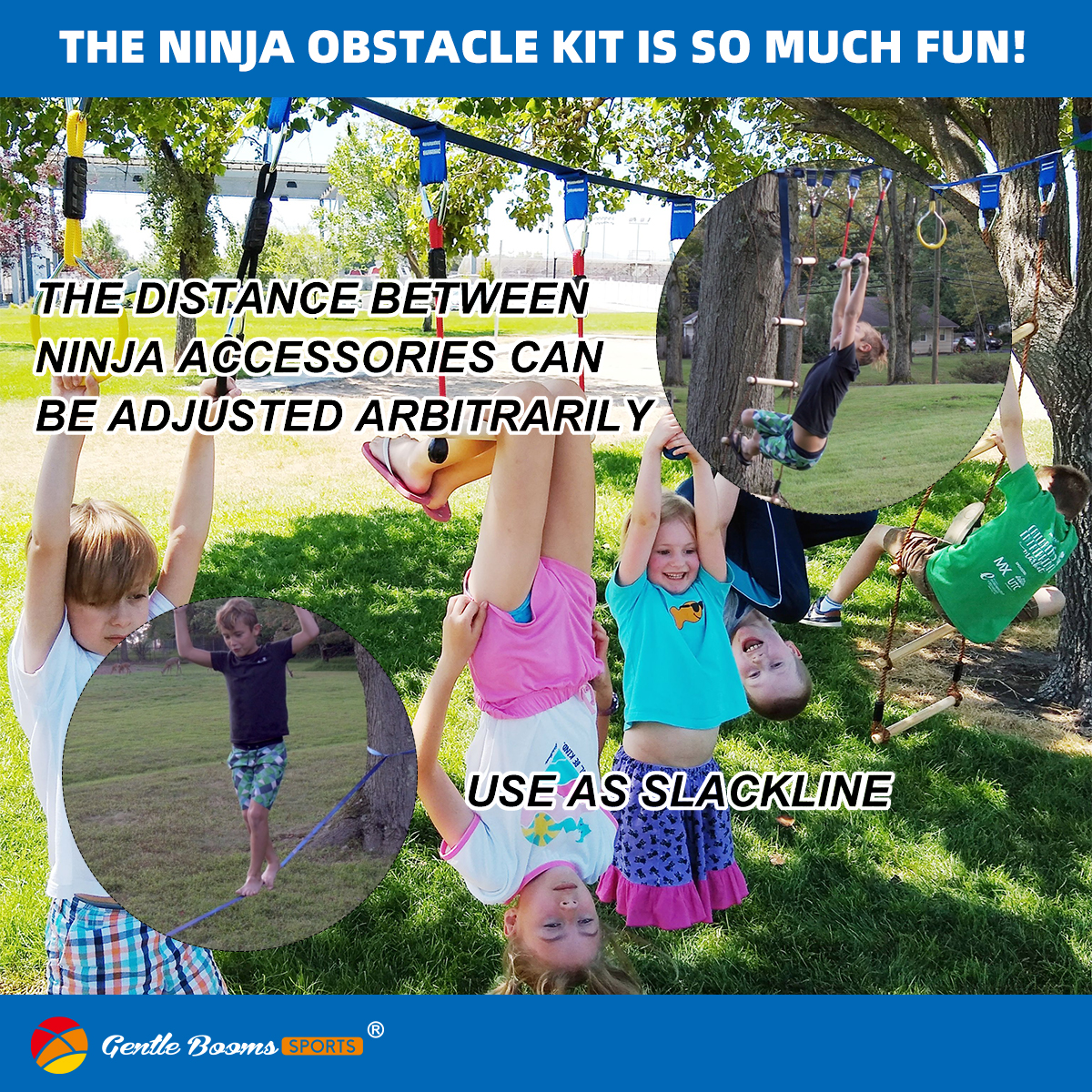 Outdoor Playground Equipment Ninja Warrior Obstacle Course for Kids Slackline with Cargo Net
