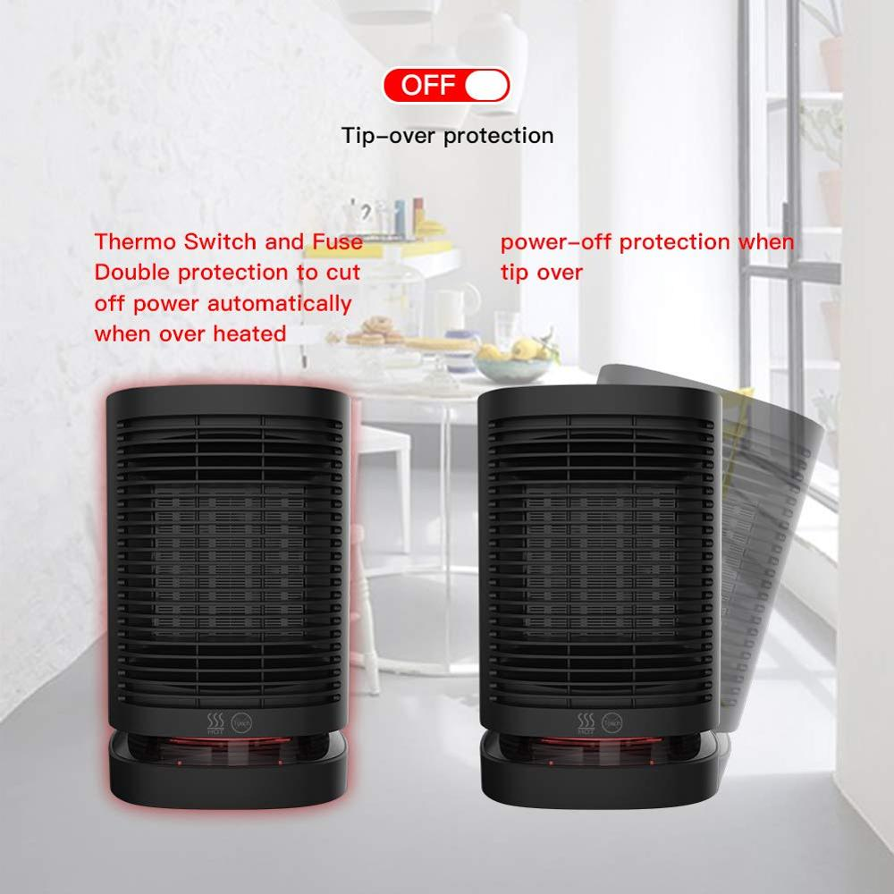 Space Heater,900-1000W Portable Electric Heater Oscillating PTC Ceramic Personal Space Heater Tip-Over Protection