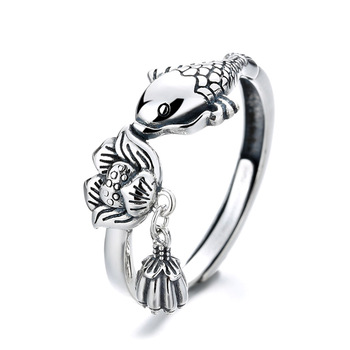 Fine Jewellery Creative Design 925 Sterling Silver Rings Fashion Carp Lotus Shape Adjustable Engagement Rings For Good Luck