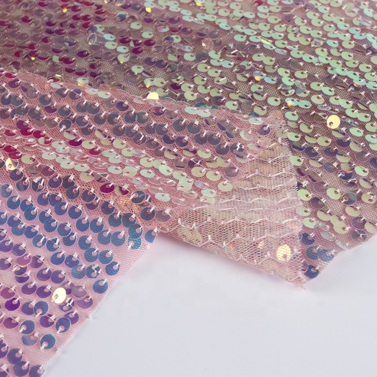 Sequin embroidery mesh lace high end color changing sequin fabric for dresses