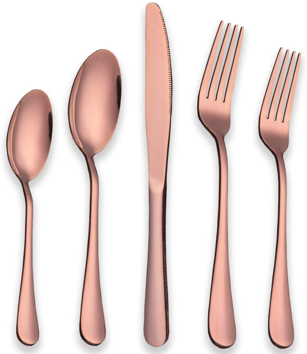 304 Spoon And Fork 18/0 Silver Flatware Giftbox 36 Copper Stainless Steel Cutlery Rose Gold Set