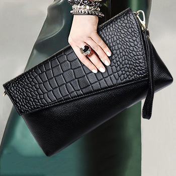 2021 Crocodile Pattern Leather Clutch Bag High-grade Cow Leather Bag