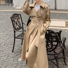 2020 new fashion custom windproof blend double breasted jackets classic long waterproof long women trench coat