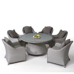 Уличная мебель для патио, стеклянный круглый обеденный стол, обеденный стол из ротанга и 6 стульев