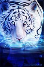 DIY 5D алмазная живопись тигра, алмазная вышивка животных тигра, вышивка крестиком, полная круглая дрель, художественная стена, домашний декор...(Китай)