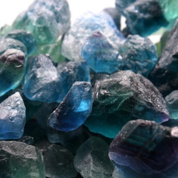 Wholesale bulk natural crystal healing stone gravel rough blue fluorite tumbled stones