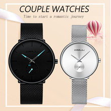 Часы для влюбленных CRRJU Топ люксовый бренд нержавеющая сталь водонепроницаемые часы для мужчин и женщин модные повседневные наручные часы ...(Китай)