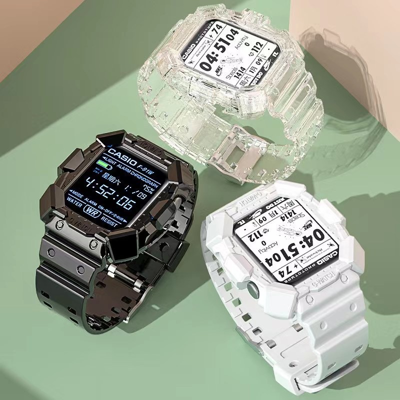 New hot shock resist watch case and band for apple series 7 6 SE 5 4 3 armor full body silicone smart watch strap with case