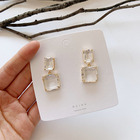 Earring Resin Resin 2021 Hotsale Design S925 Sterling Silver Needle Double Square Crystal Earring Geometric Clear Resin Drop Earring For Women