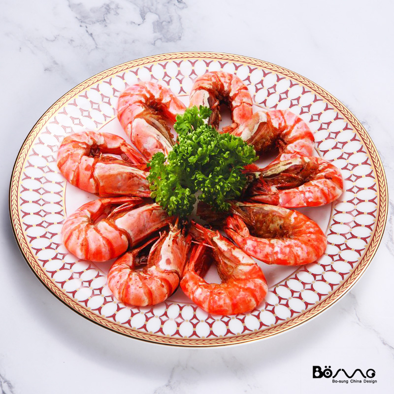 Flower Shape Blue Red Colorful Restaurant bone dinnerware Cheap wedding Event Round Charger Plate