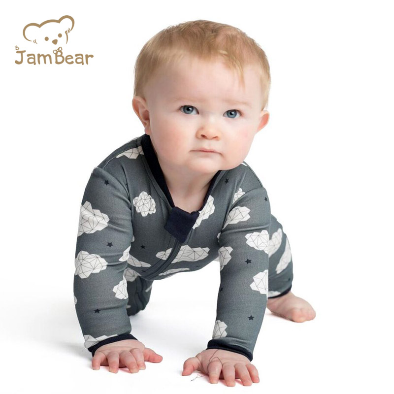 JamBear Baby Rompers Two-Way Zip Rompers Organic Cotton Long Sleeve Pajama Sleeper Cotton Romper infants Jumpsuit