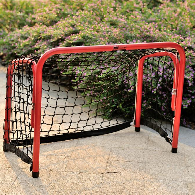 Foldable hockey goal with net for outdoor games