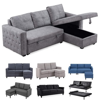 Reversible Sleeper Sectional Grey L-Shaped Couch Sofa Convertible Sofas Sectionals Living Room Sofas Furniture