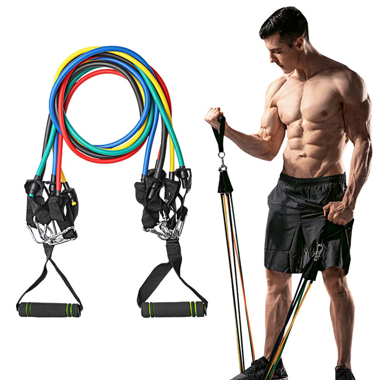 Set Resistance Bands 11pc Workout Fitness Yoga Rope Pull Elastic Rubber
