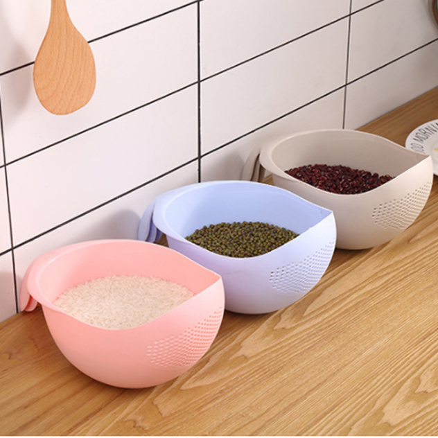 Wholesale Kitchen PP Plastic Rice Sieve Fruit And Vegetable Washing Bowl Basket Drainer
