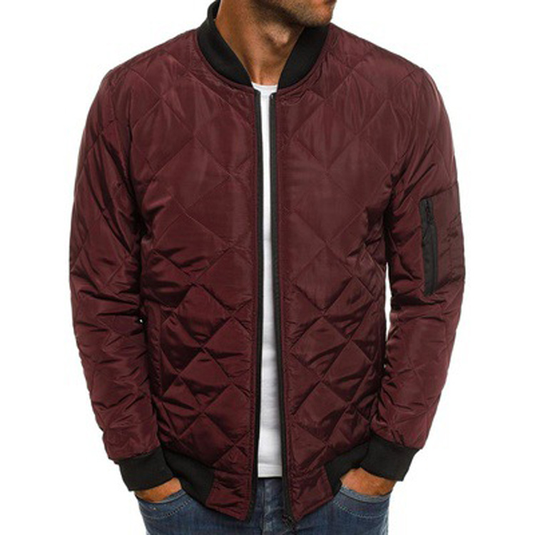 2021 Wholesale Men Diamond Quilted Jacket Winter Solid Color Softshell Bomber Jacket Man