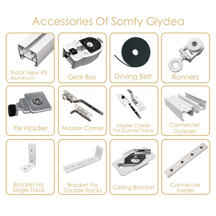 Wholesale Somfy Gear Box Motorized Curtain Accessories Iron Fix Clatch Somfy Glydea Track