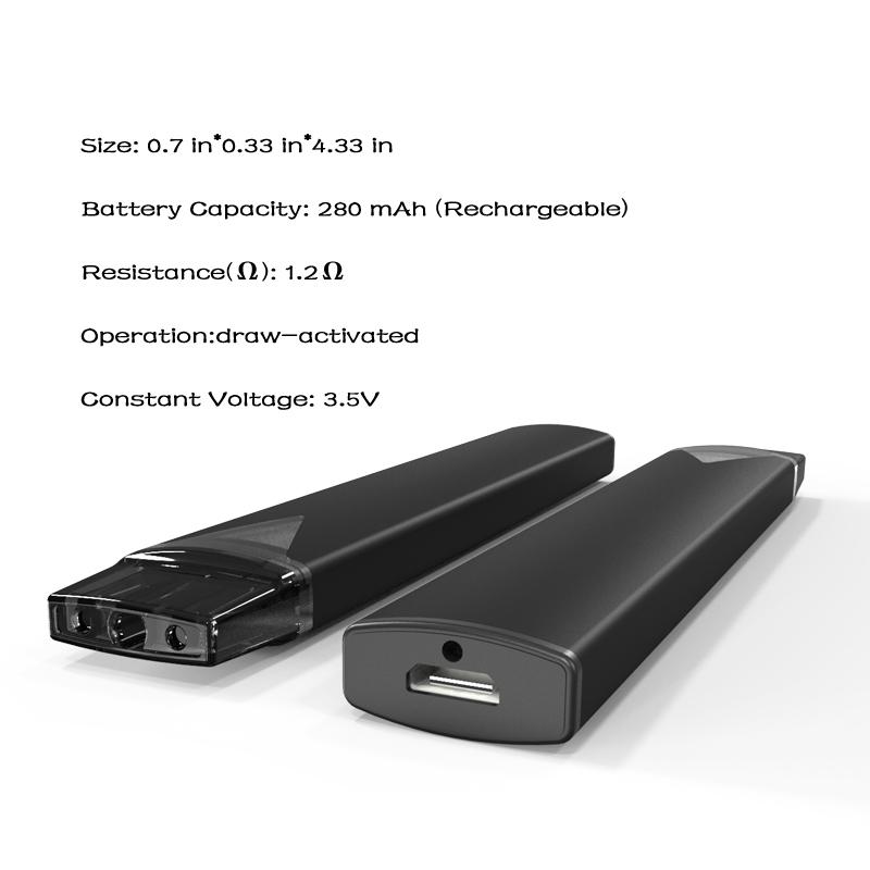 Зарядка через USB на 280 мА · ч подходит для керамического нагревательного элемента THC cbd емкостью 1 мл, электронных сигарет, аккумуляторов для вейпа