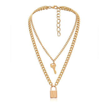 2020 Punk Unisex Long Multilayer Chain Lock And Key Couple Necklace Set 2 Layered 14K Gold Plated Key Padlock Pendent Necklace