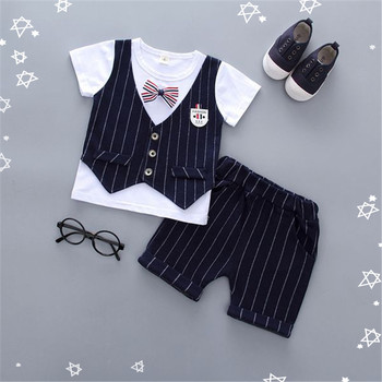 2pcs tie suit cheap price boy clothes sets wholesale summer kids boy clothing sets