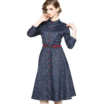 Wholesale Women Spring New Fashion S To XXL With Belt Button Front Color Block Letter Print Dress
