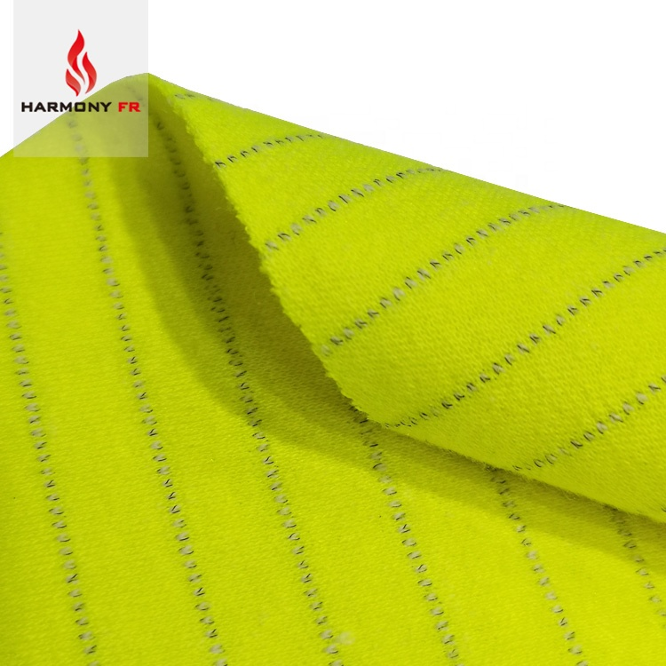 Modacrylic Cotton Knitted Interlock Inherent Flame Retardant Antistatic Fluorescent Fabric