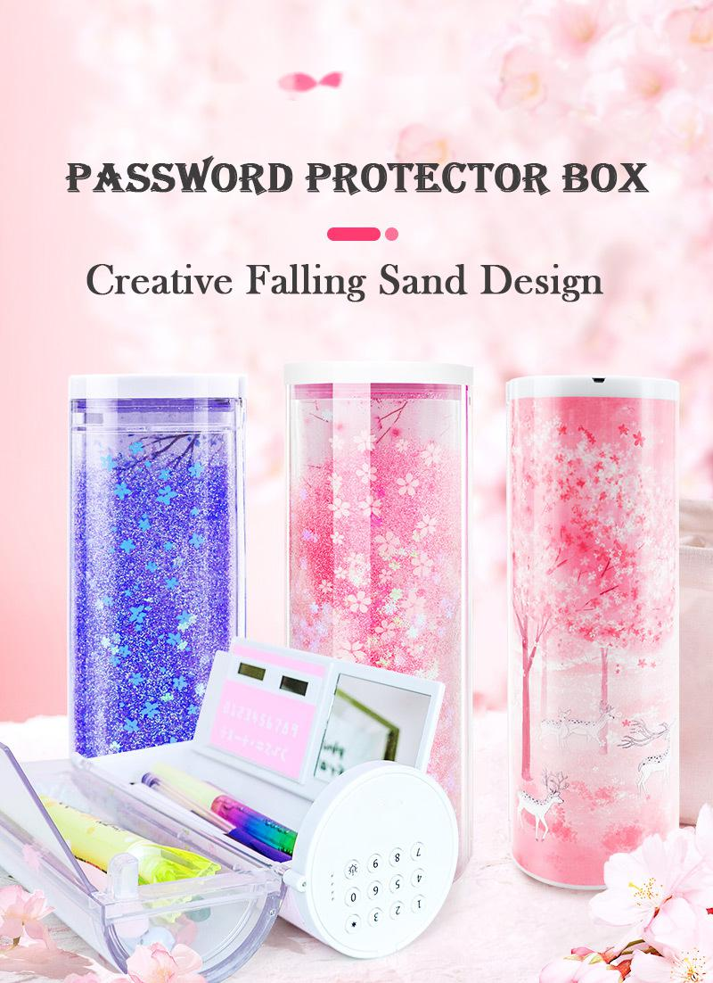 fashion custom made tube lock with a password Multifunctional Pencil Box with Calculator, Whiteboard, Mirror For kids