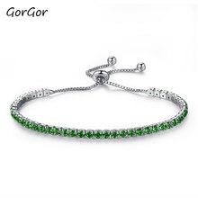Женские браслеты GorGor, блестящие стразы, пряжка с цепочкой, простой дизайн, винтажные Женские аксессуары из медного сплава 970(Китай)