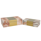Wooden Box Luxury Wooden Storage Box PU Marble Pattern Bins Metal Veneer Decorative Boxes Wooden Storage Box