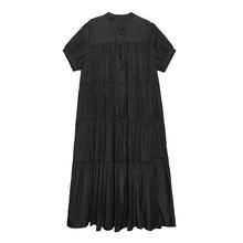 Женское длинное платье EAM, зеленое плиссированное платье большого размера с воротником-стойкой и коротким рукавом, 2019(Китай)