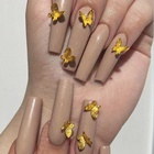 3D Gold Butterfly Nail Charms Matte Butterfly Nails Supplies Acrylic Nail Art Decoration Tools
