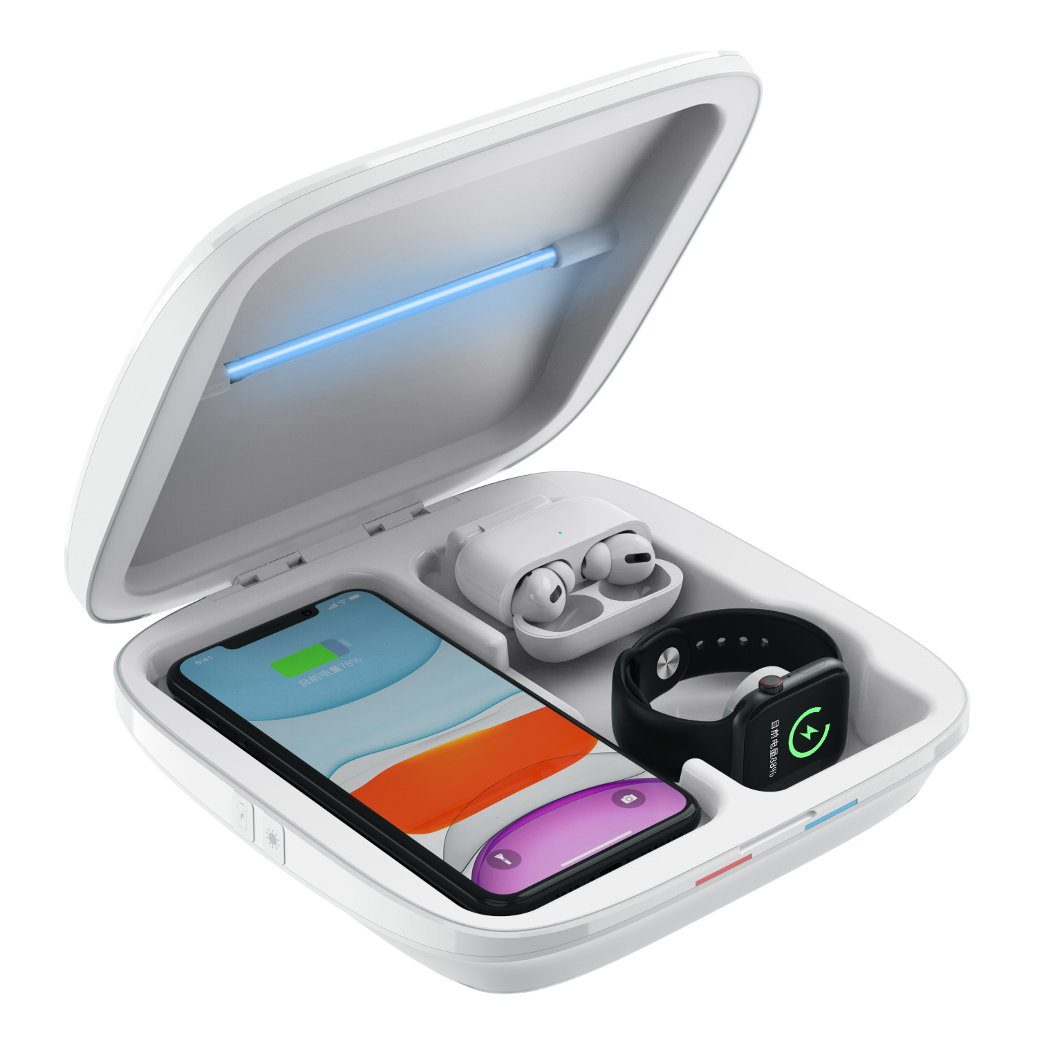 Vmax wholesale UV cell phone Cleaner with fast wireless charger 4 in 1 Phone Sterilization Box
