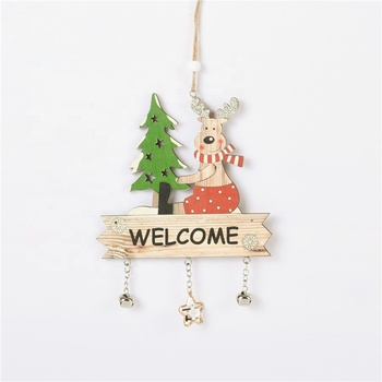 Christmas Pendant Wooden Christmas Tree Decorations Christmast Ornament Silk Screen Printing 4 Color Home Elegance