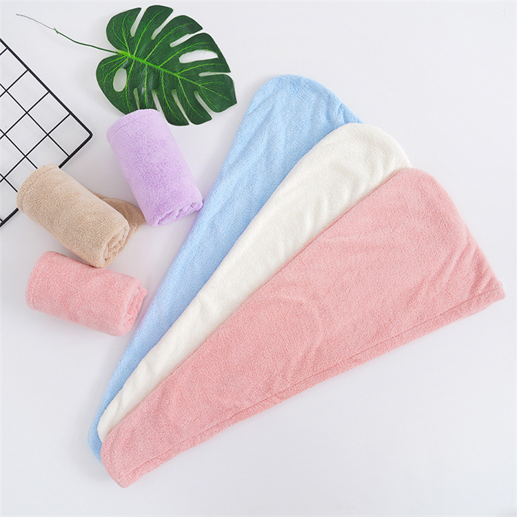 Factory direct high-density coral fleece dry hair cap, absorbent thickened shower cap