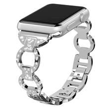 Женский ремешок из нержавеющей стали для Apple Watch 40 мм 44 мм iwatch 5 4 браслет с бриллиантами для Apple Watch 38 мм 42 мм серия 3 2 1(China)