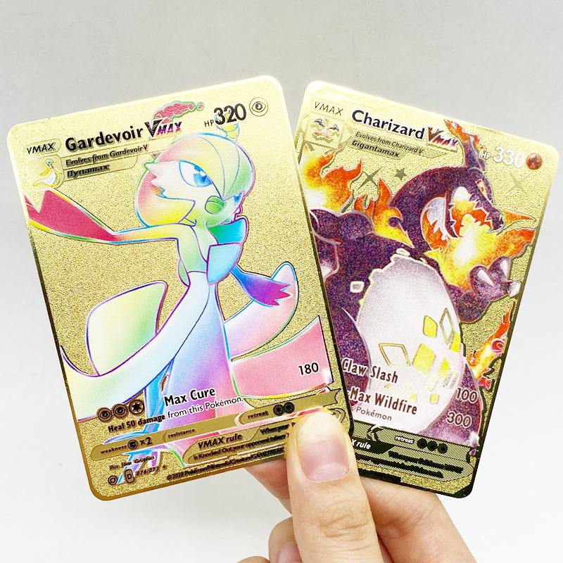 Fast Shipping Pikachu Charizard V Metal Trading Cards Pokemon Gold Charizard Vmax GX Metal Trading Cards Game