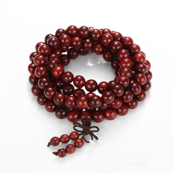 Hot sale wholesale natural Red rosewood wood beads heart Buddha beads