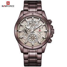 NAVIFORCE Топ Новая мода спортивные часы для мужчин Роскошные Кварцевые наручные часы 3 бар водонепроницаемый полный сталь мужской черный красн...(Китай)