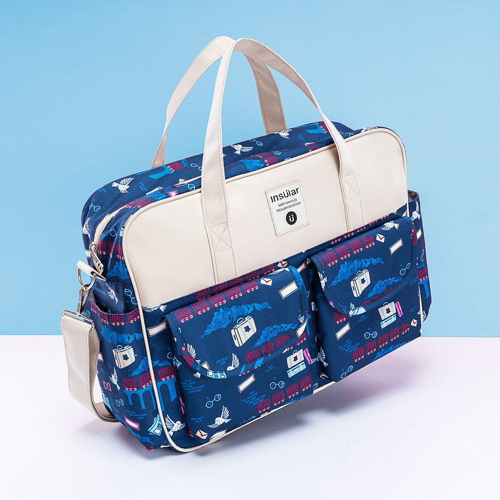 Fashion Print Diaper Bag for Mom Waterproof Large Capacity Baby Care Bags for Stroller Multifunction Mommy Bag 8 Colors