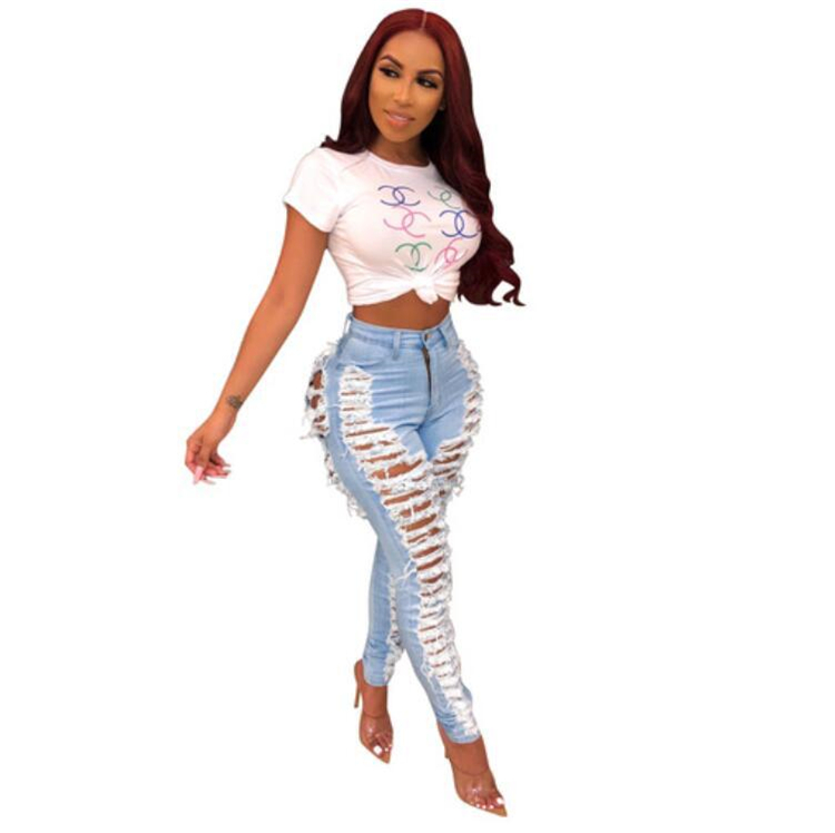 Women High Waist Sexy Jeans Distressed Slim Holes Fit Ripped Pants Comfy Stretch Skinny Jeans