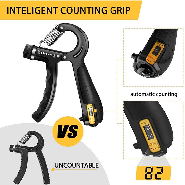 Grip Strength Trainer Counting Forearm Strengthener Workout Kit 5 Packs Adjustable Resistance Hand Grip Strengthener