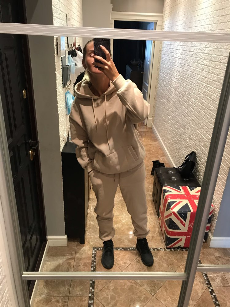 2020 New Stylish Thick Tracksuit Sweatshirt and Jogging Sweatsuit 2 Piece Set Women Winter Tracksuits for USA