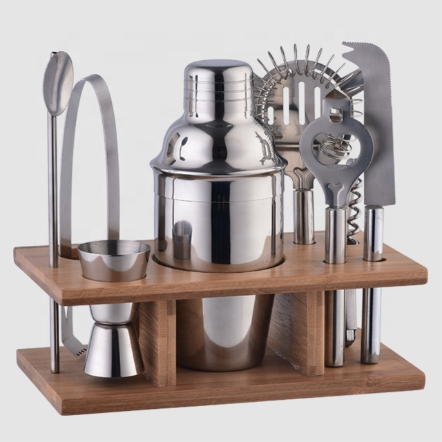 Factory Direct 10-piece bartender kit subliva professional mini martini cocktail shaker bar tool set with bamboo