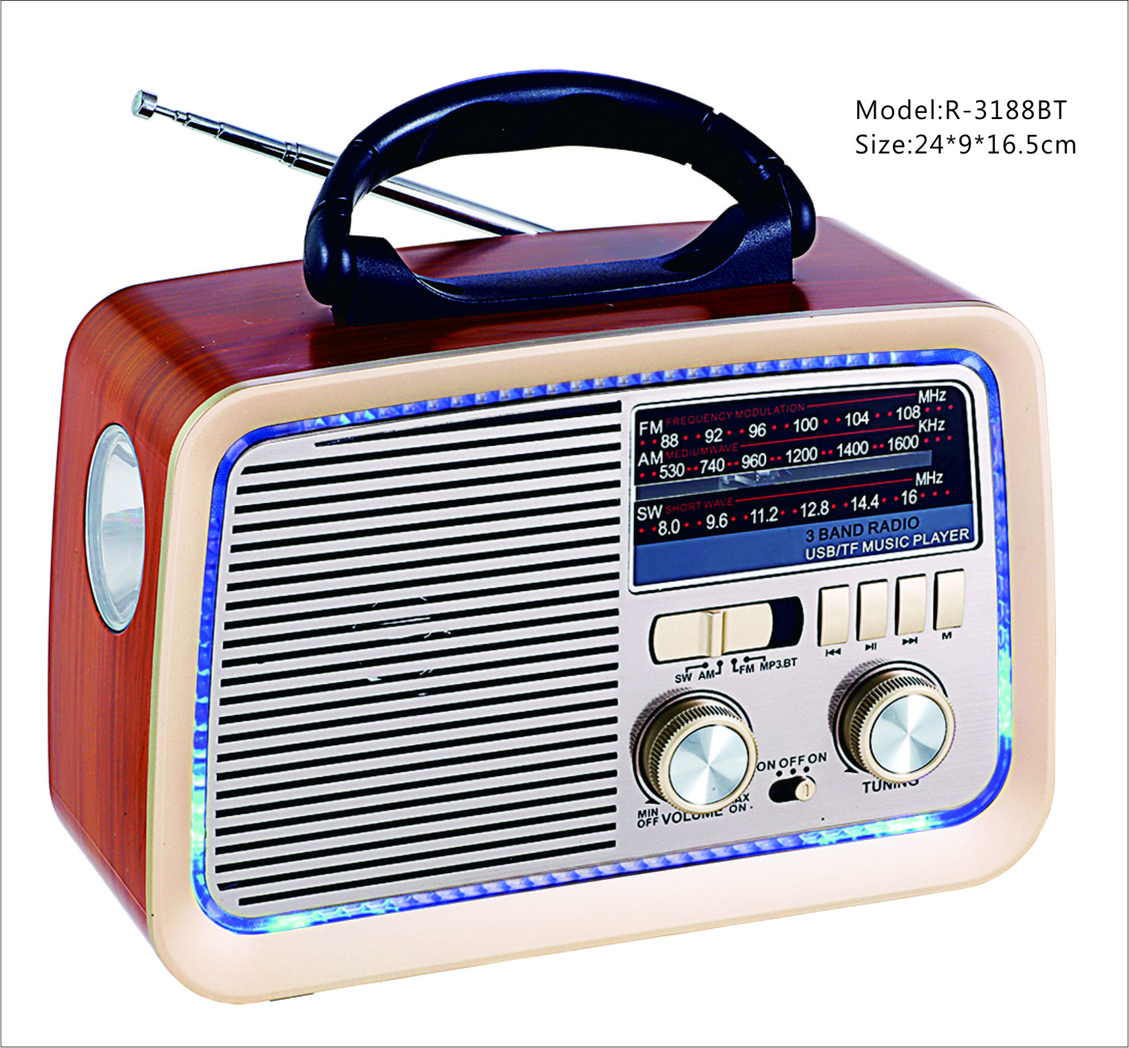 Antique Wood Classic Retro Radio AM FM SW 3 Bands Wireless BT Funtion USB TF Mp3 Player With Rechargeable Battery