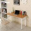 teak desktop, white legs