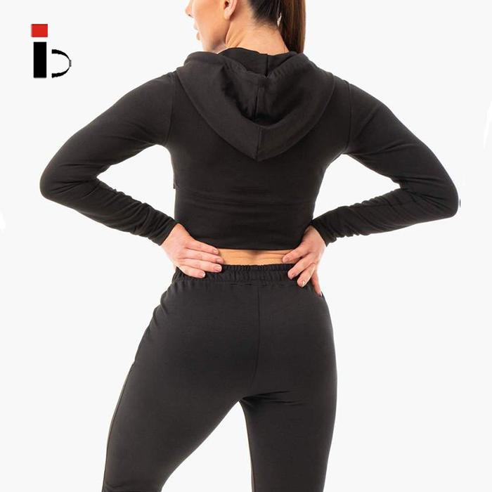 Женская спортивная одежда, одежда для фитнеса, тренировочный укороченный топ на молнии, куртки для активного отдыха с капюшоном