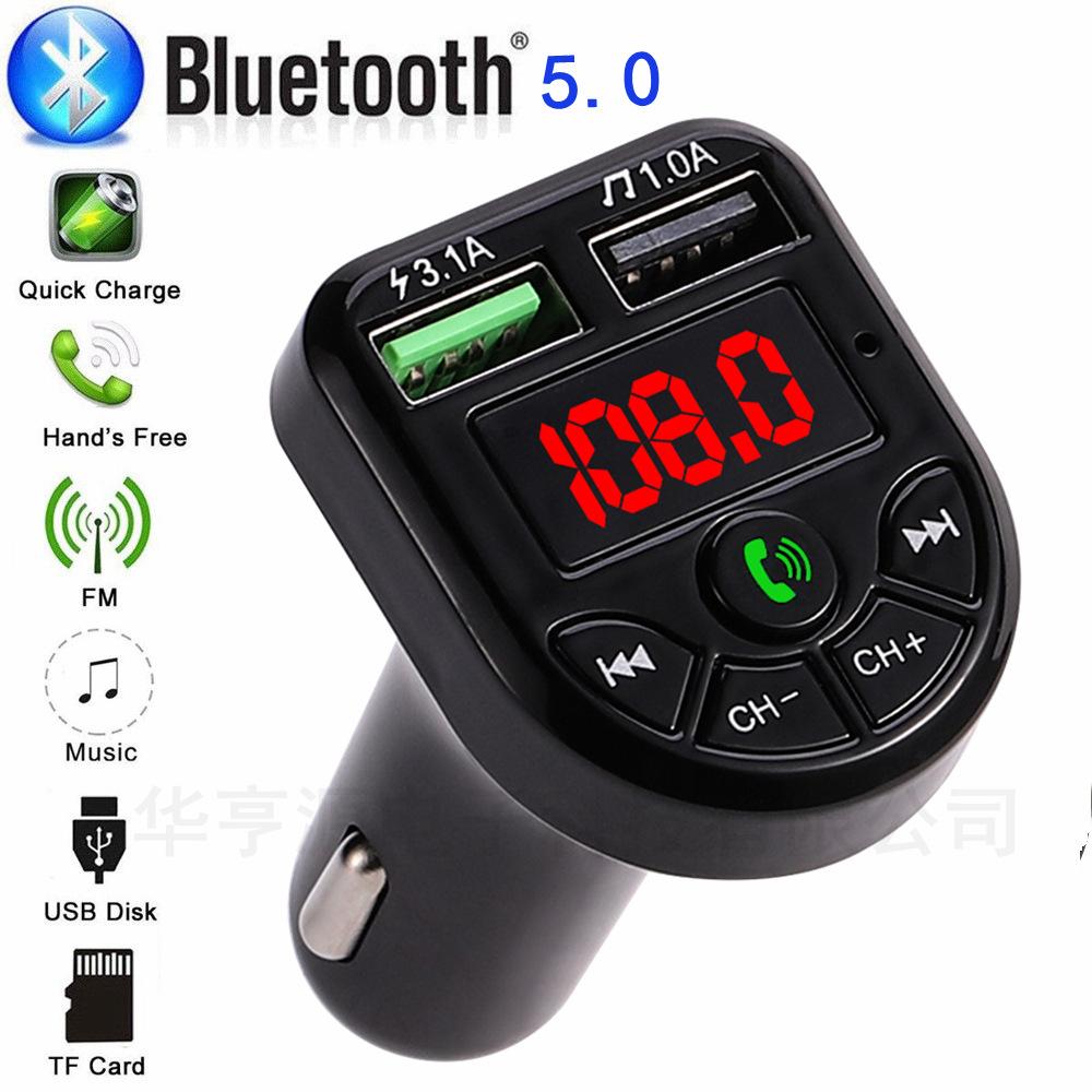 2021 New LED BT radio FM Transmitter Car kit Dual USB Car Charger 3.1A 1A 2 Port USB MP3 Music Player support TF/U Disk